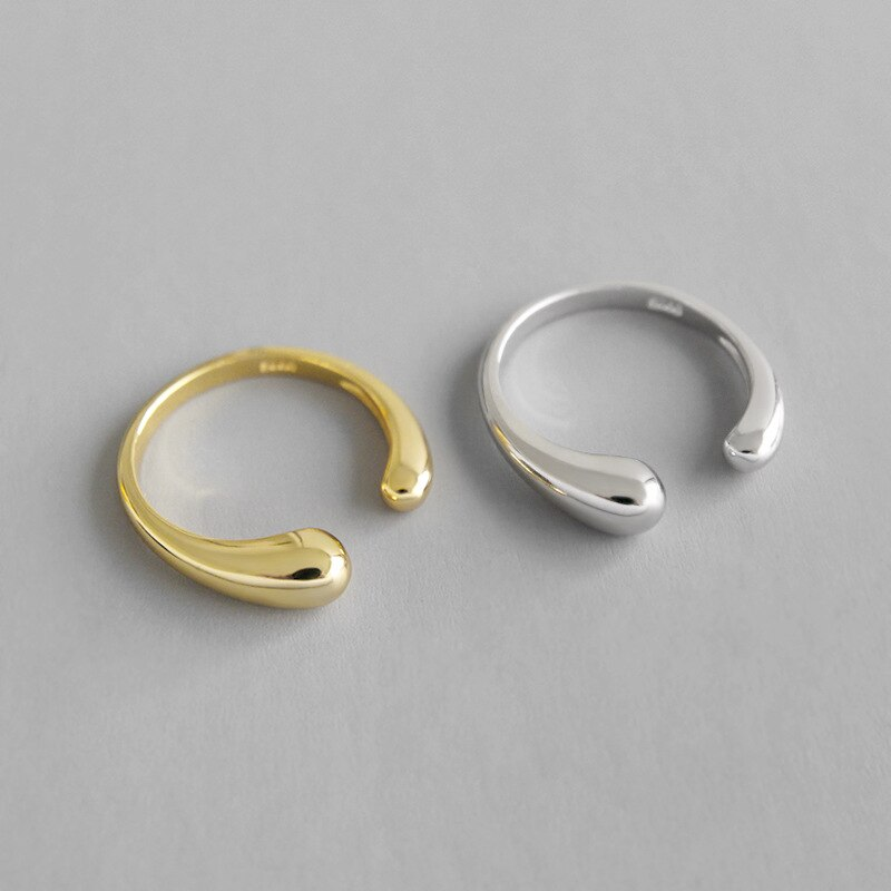 1pc Authentic S925 Sterling Silver FINE Jewelry White /Gold Glossy waterdrop Tears Ring adjust TLJ712