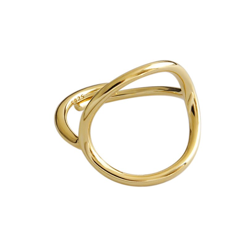 1pc Simple Authentic S925 Sterling Silver FINE Jewelry  White/Gold Open irregular circle Geometric ring adjust TLJ808