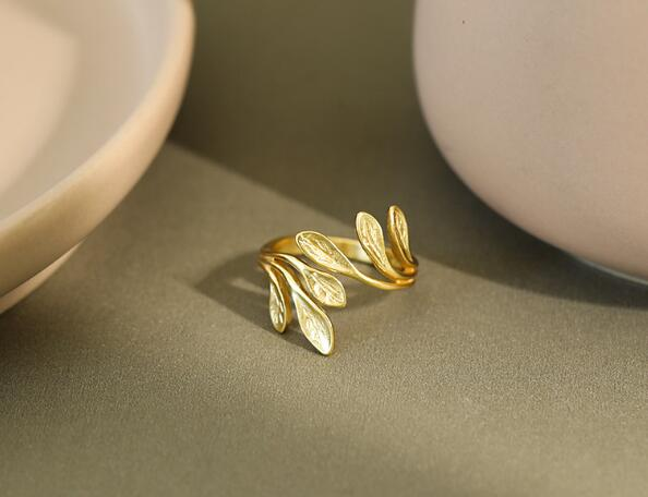 1pc 18K GOLD Authentic 925 sterling silver White/ Gold Branch of Olive Leaf Ring Long adjust Jewelry TLJ1219