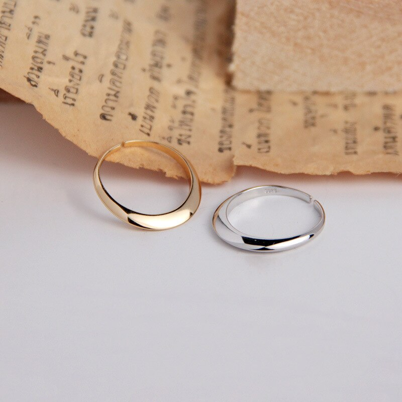 1pc small Thin 100% Authentic 925 sterling silver Glossy White/Gold cone band Rings adjust TLJ895