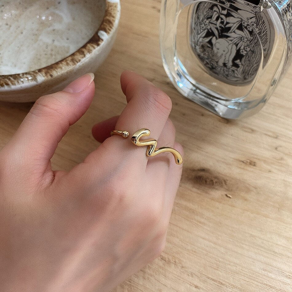 18k gold plated 1pc  exaggerate Authentic 925 sterling silver  Smooth Glossy Long Ring adjust France design Fine Jewelry TLJ1210