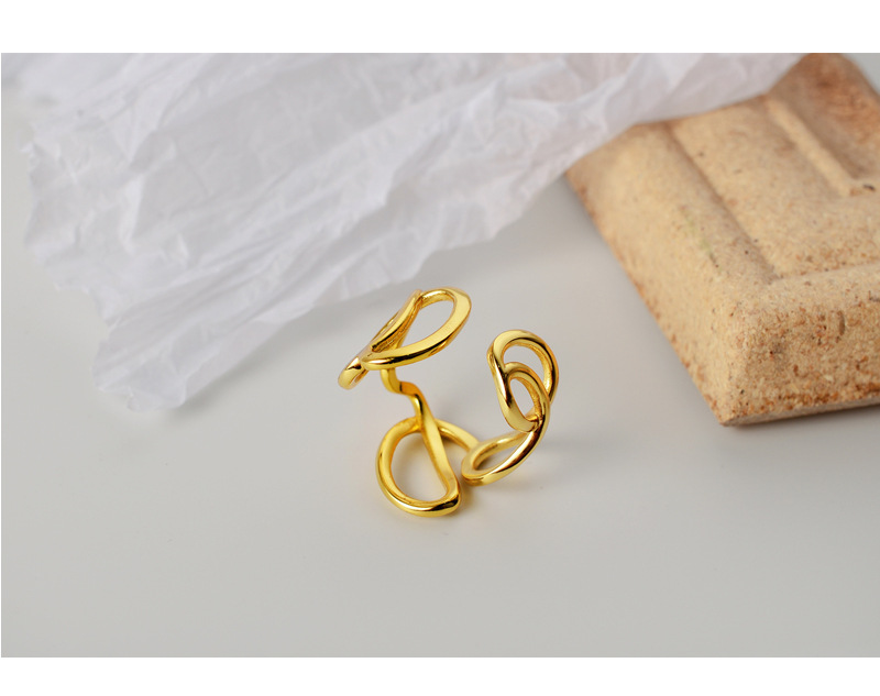 18K Gold Plated 1pc 100% Authentic 925 sterling silver White/Gold Hollow Geometric Lines Ring Women's Jewelry TLJ1176