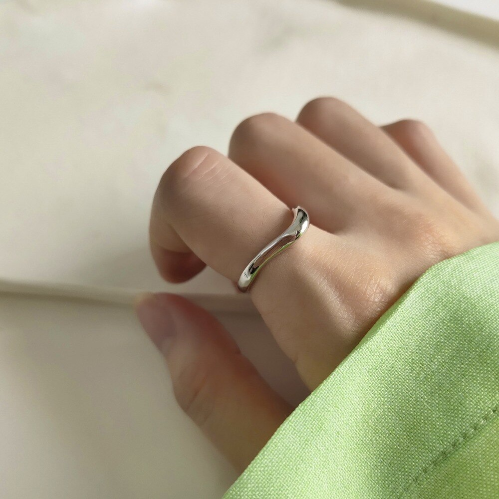 INS Authentic S925 Sterling Silver FINE Jewelry Glossy Wave Rings adjust TLJ637