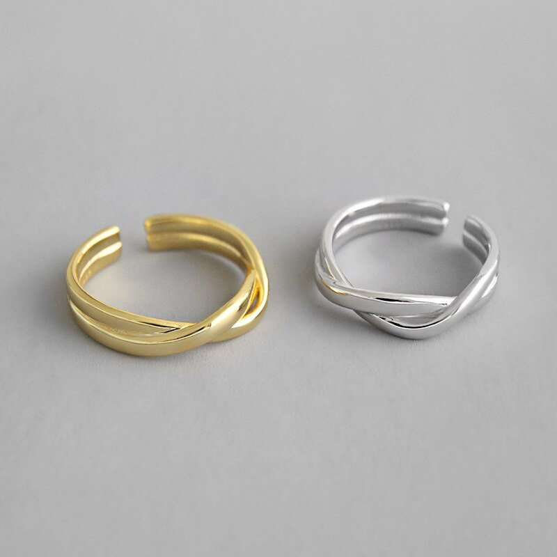 1pc Authentic S925 Sterling Silver FINE Jewelry White/gold double rows Twisted Roped Rings adjust TLJ628
