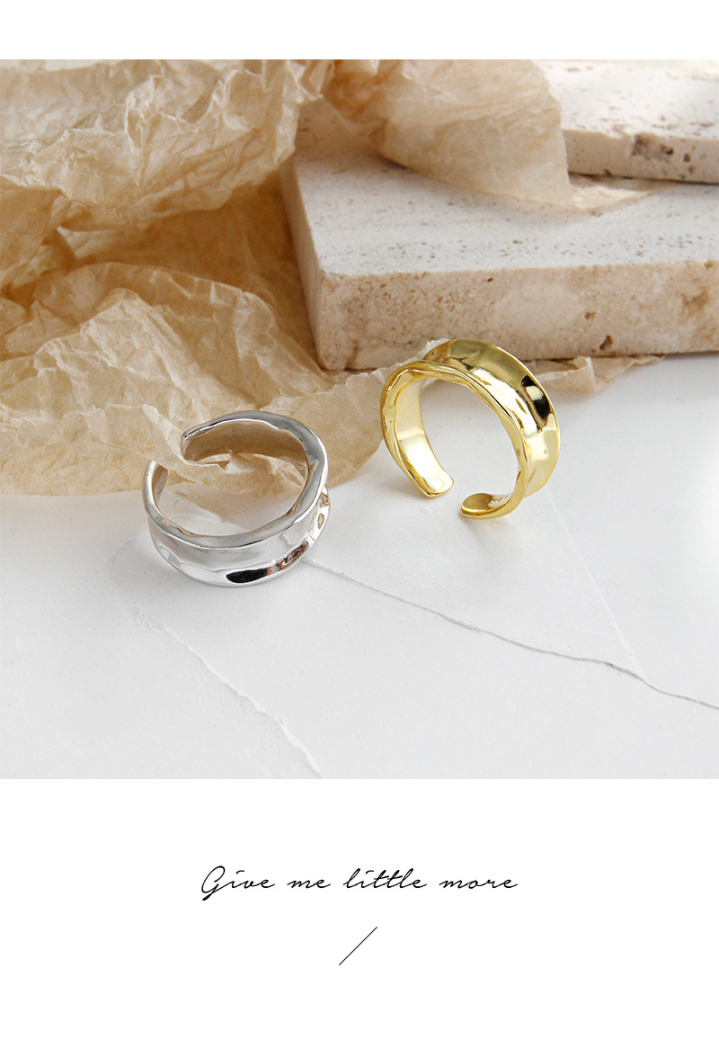 punk Authentic S925 Sterling Silver FINE Jewelry Gold/ White Irregular concave Surface Geometric Band Rings adjust TLJ812