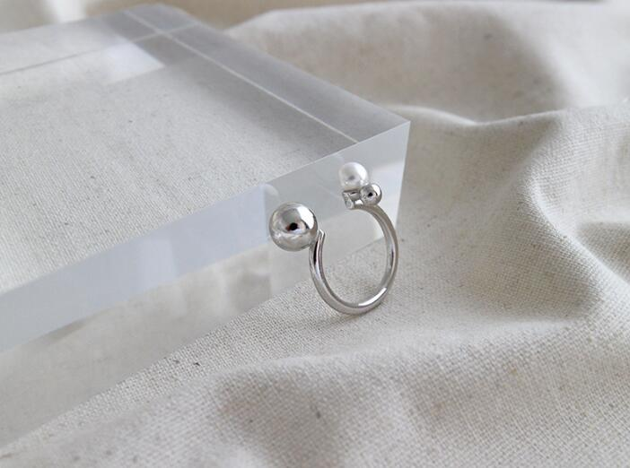 1pc Authentic S925 Sterling Silver FINE Jewelry white/ gold smaller &Bigger Polished Ball &shell pearl open ring adjust TLJ737