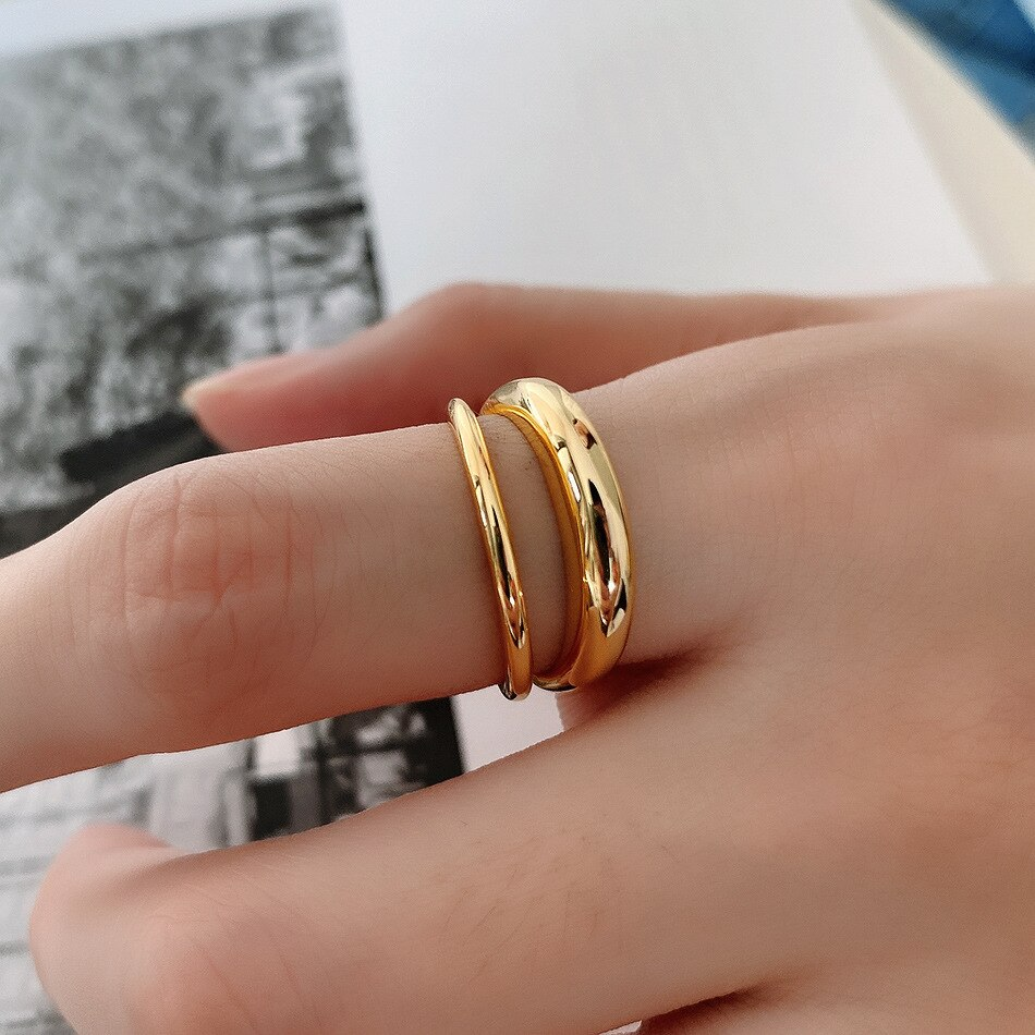 18k gold 1pc Authentic 100% Real. S925 Sterling Silver Jewelry Glossy Double Rows  rings Adjust TLJ1357