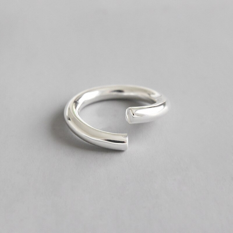 WOMEN'S 100% Authentic 925 Sterling Silver Fine Jewelry Polished Rounded curved Ring adjust open J88