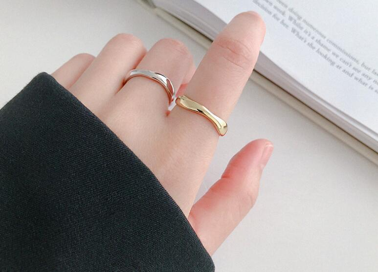1PC Authentic S925 Sterling Silver FINE Jewelry Glossy White /Gold Irregular Geometric Open Rings adjust J501