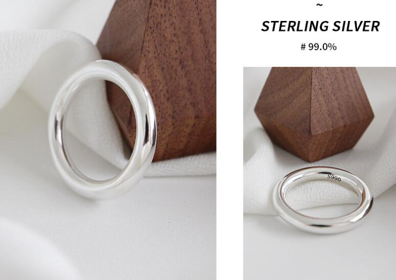 1pc 3.5mm Authentic S990 Sterling Silver Fine Jewelry High Polished Rounded Ring comfortable high quality  TLJ542