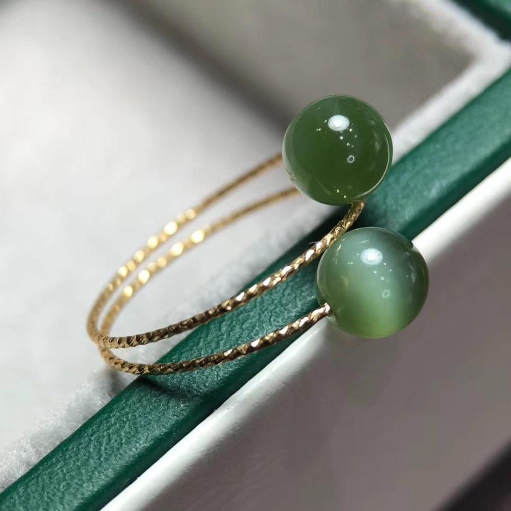 D705 Green Jasper Ring 18 K Gold Jewel Natural Green Jasper 6mm Gemstones Male's Rings for Unisex Fine Ring