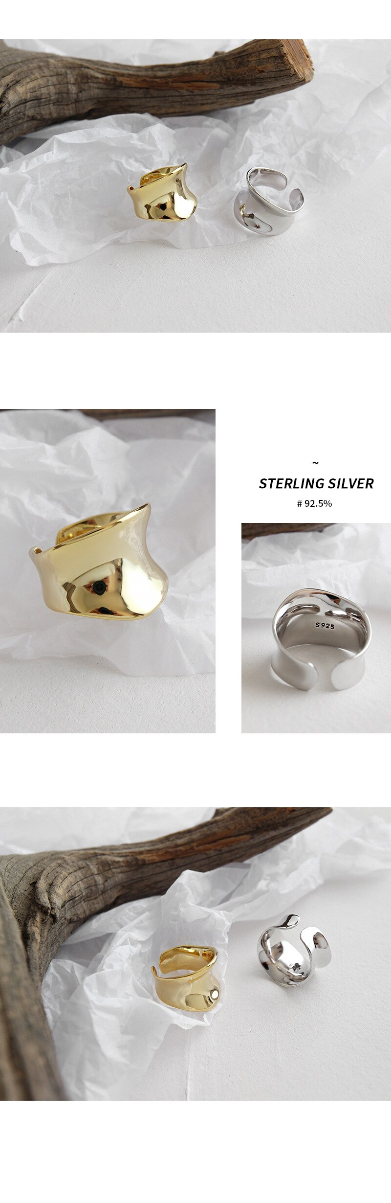 Kinel Fashion Unique Design 925 Sterling Silver Rings Wide Concave Surface INS Style Irregular Korean Silver Ring 925 Jewelry