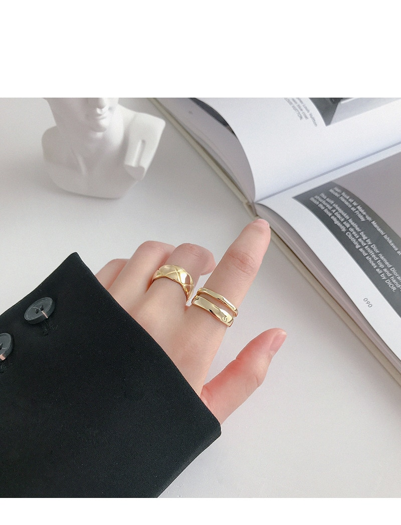 Kinel 925 Sterling Silver Open Ring Normcore INS Irregular Line Double Layer Ring Femme Punk Ring Accessories Gift