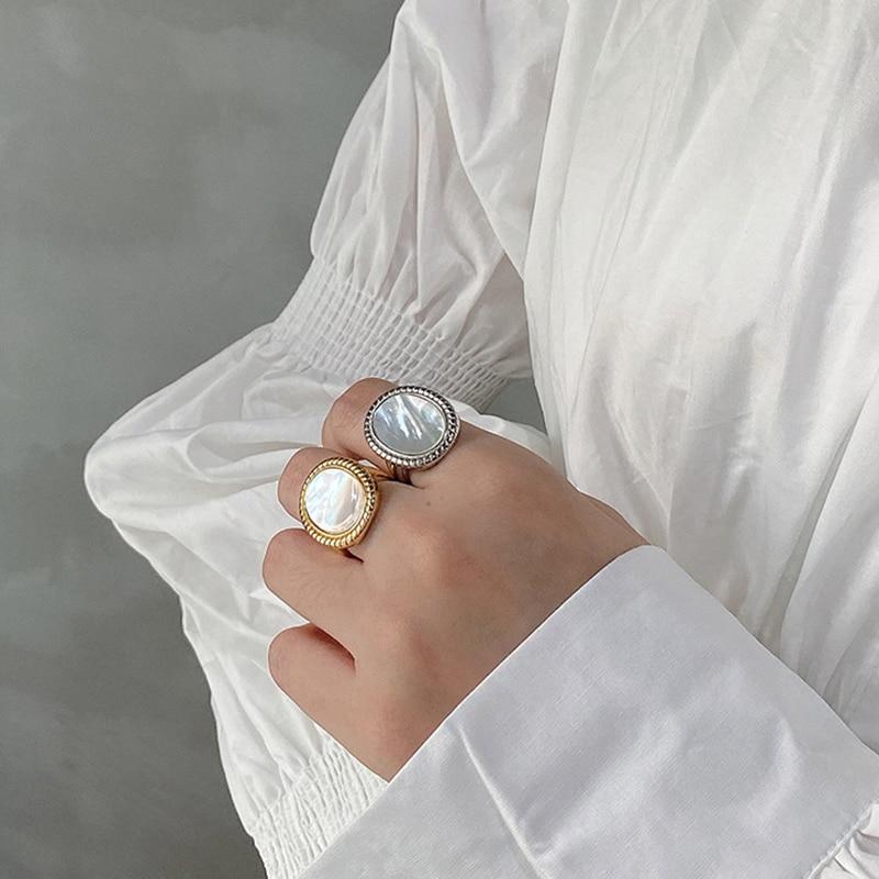 Kinel 925 Sterling Silver Shell Ring Woman Jewelry Western Fashion Silver 925 bague Luxury Jewelry Designers bijoux