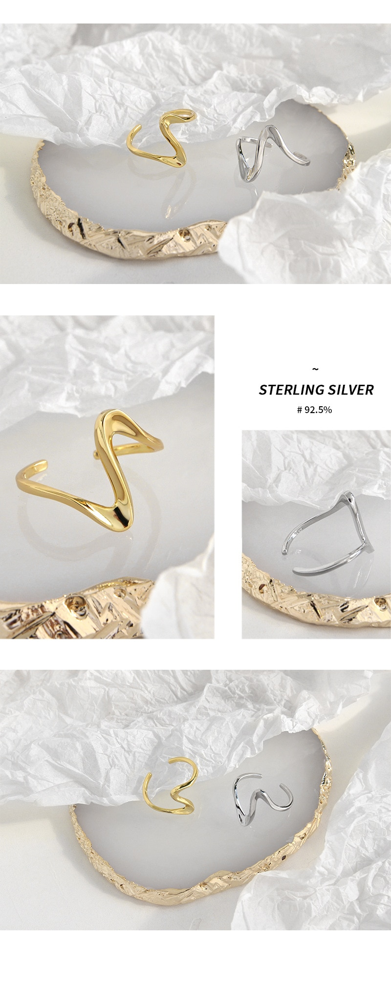 Kinel 925 Sterling Silver Open Rings Korean Twisted Wave Silver Gold Color Anel Finger Ring For Women Statement Adjustable