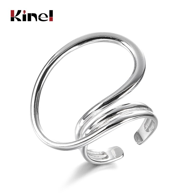 Kinel Fine Jewelry Hot Ring 925 Sterling Silver Multidimensional Twisted lines Geometric Ring Minimalist Ring For Women