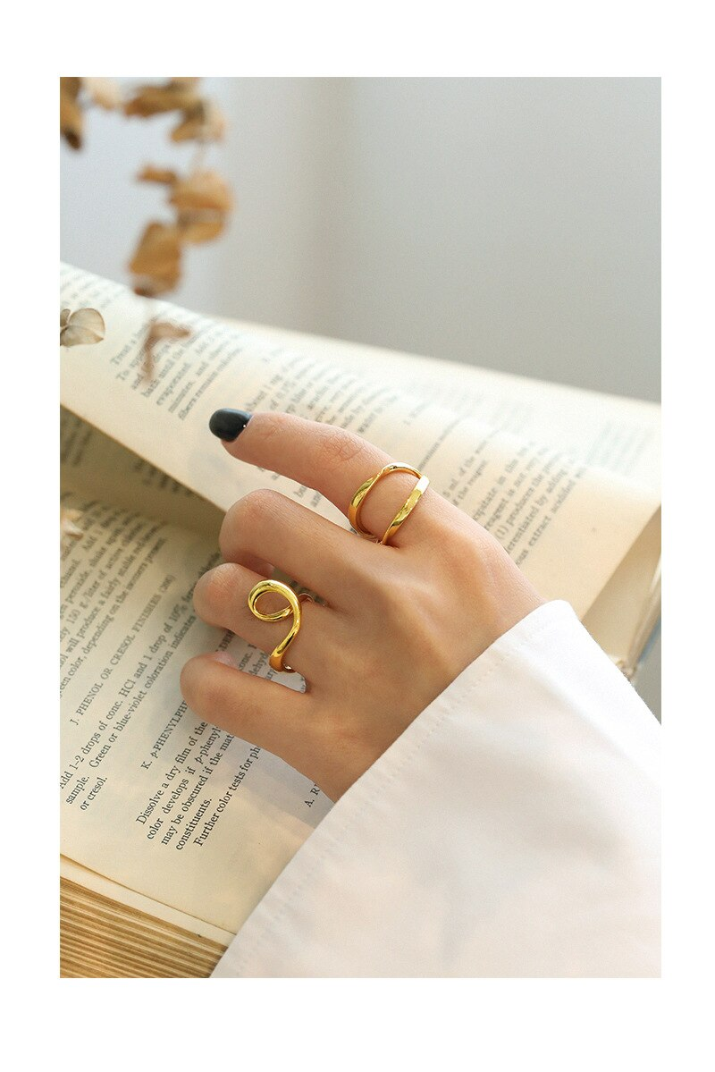 Kinel Korea Personality 925 Sterling Silver Irregular Finger Rings for Women Minimalist Design Jewelry Accessories