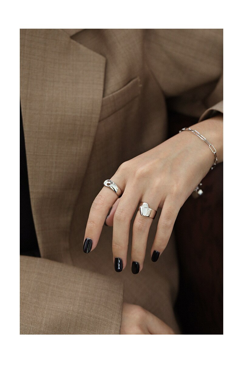 Kinel Brand 100% 925 Sterling Silver Minimalist Glossy Open Rings For Women Creative Design Lady Fashion 18K Gold Jewelry