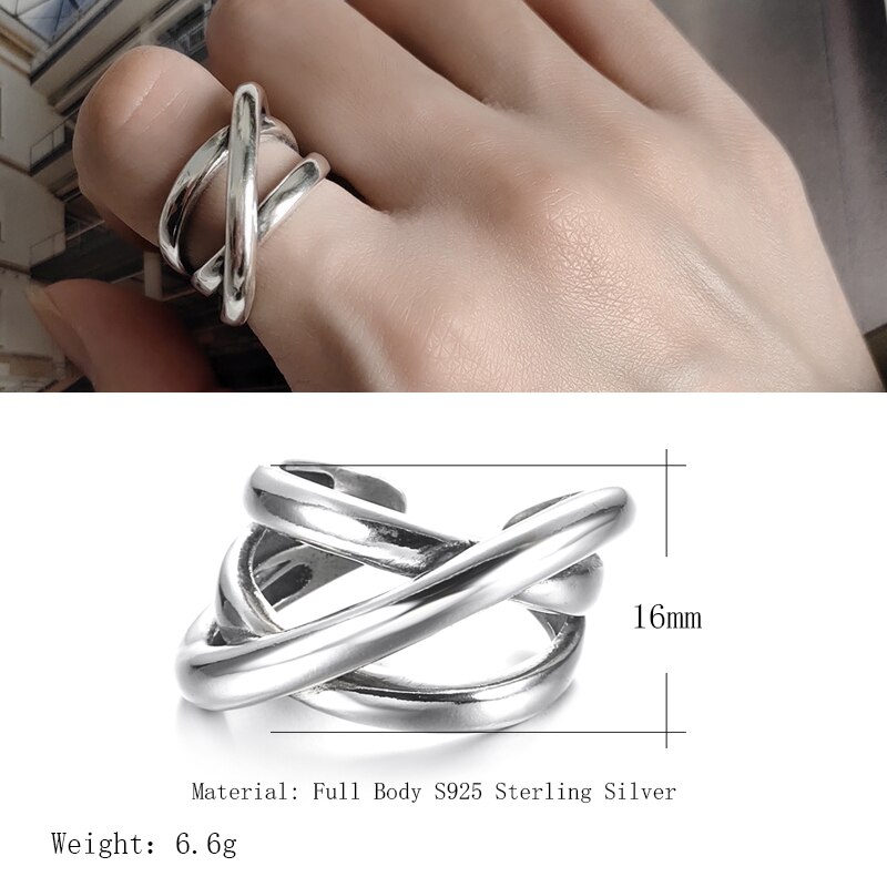 Kinel 2020 Hot 925 Sterling Silver Big Rings Minimalism Style Multilayer Line Cross Rings For Women Gifts