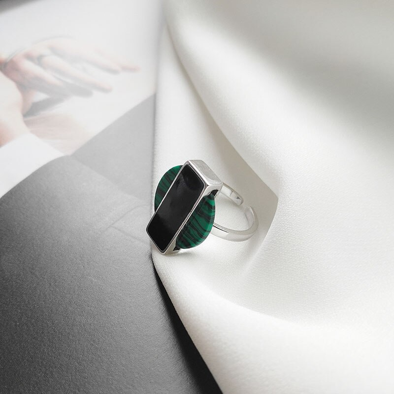 Kinel Vintage 925 Sterling Silver Turquoise Women's Ring Korea Simple Gemstone Open Silver Ring Jewelry Gifts