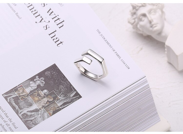 Kinel Authentic 925 Sterling Silver Geometric Cross Adjustable Finger Rings for Women Wedding Party Punk Jewelry