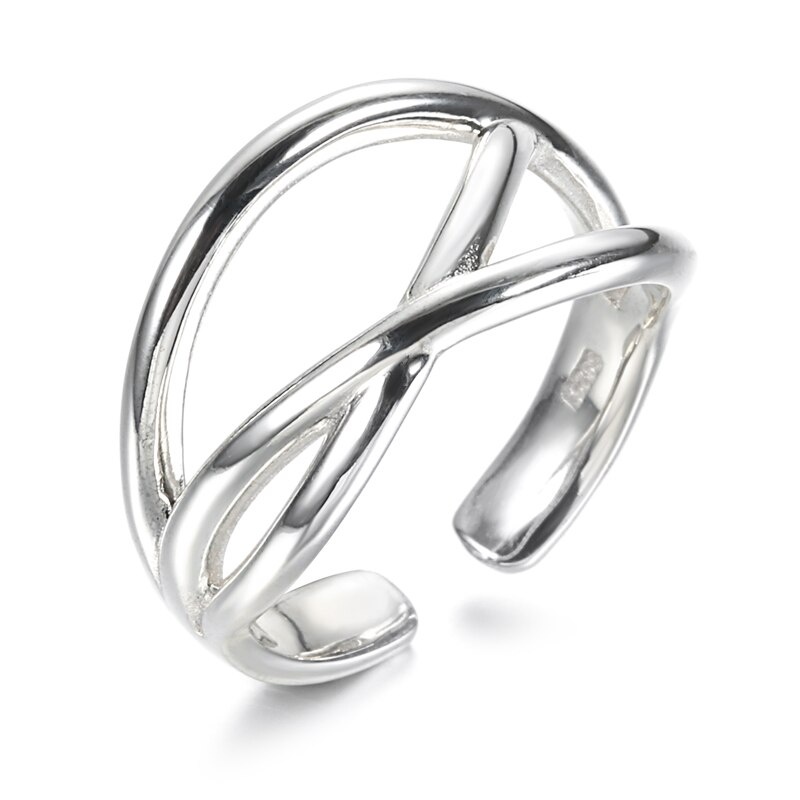Kinel S925 Sterling Silver Minimalist Thick Stackable Ring Wide Glossy Open Joint Tail Ring Antique Jewelry 2020 New