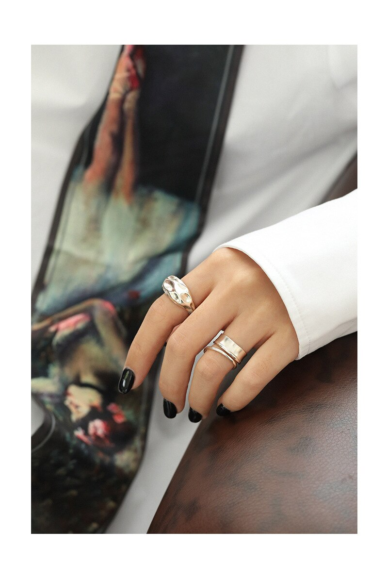 Kinel 925 Sterling Silver lrregular Concave Convex Surface Open Rings for Women Wedding 18K Real Gold Plated Jewelry