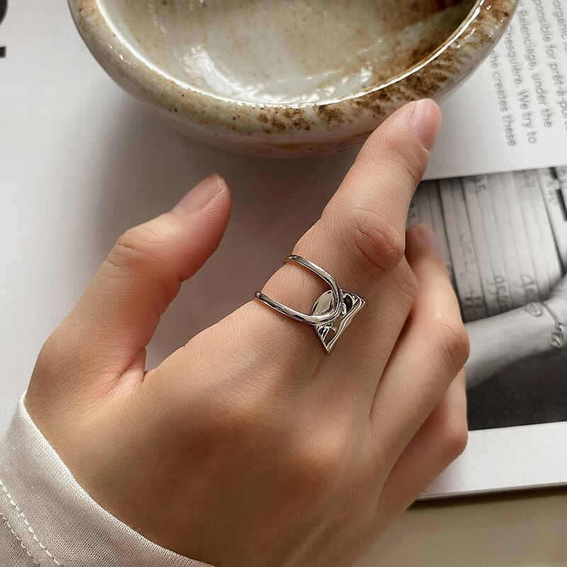 Kinel French Vintage Punk 18K Gold Plated Ring 925 Sterling Silver Rings For Women Anillos Joyas De Plata Fine Jewelry
