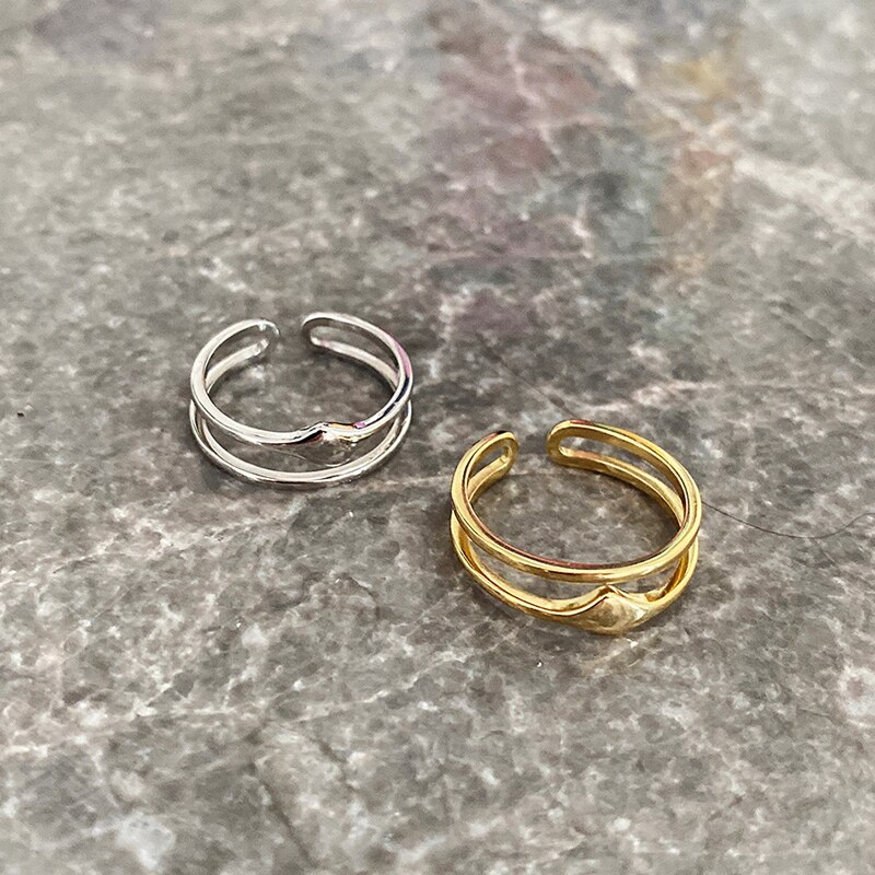 Kinel S925 Sterling Silver Rings for Women Fashion Double Adjustable Ring Women Open Party Rings Simple Jewelry Birthday Gift