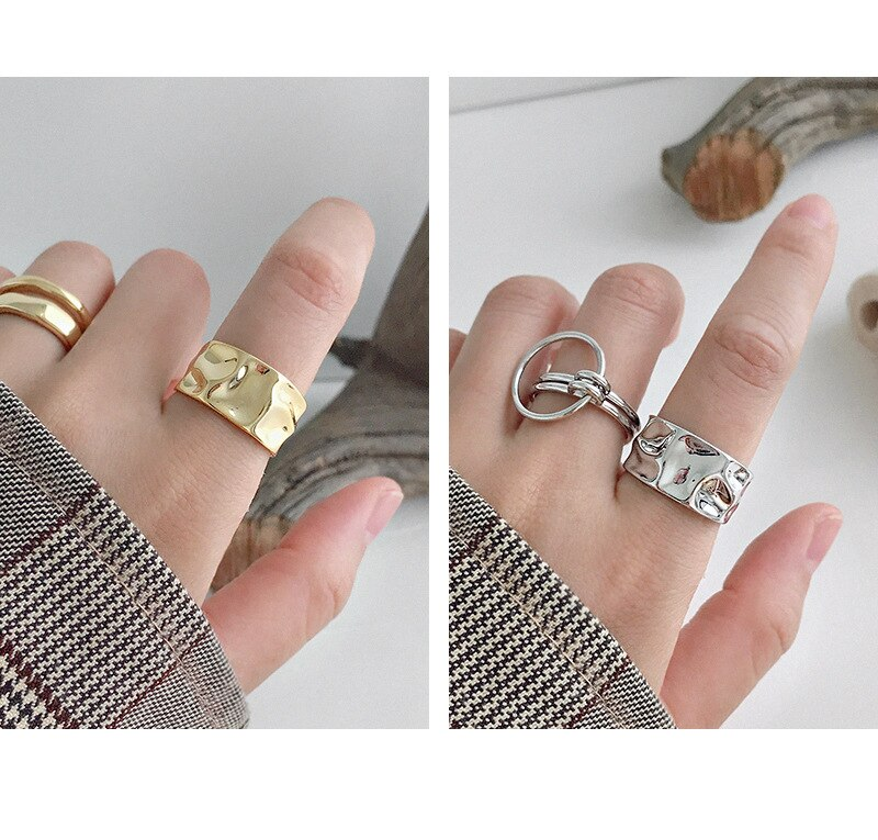 Kinel 925 Sterling Silver Irregular Wide 14K Gold Ring High Quality Fashionable Rings for Women Silver 925 Jewelry Gift
