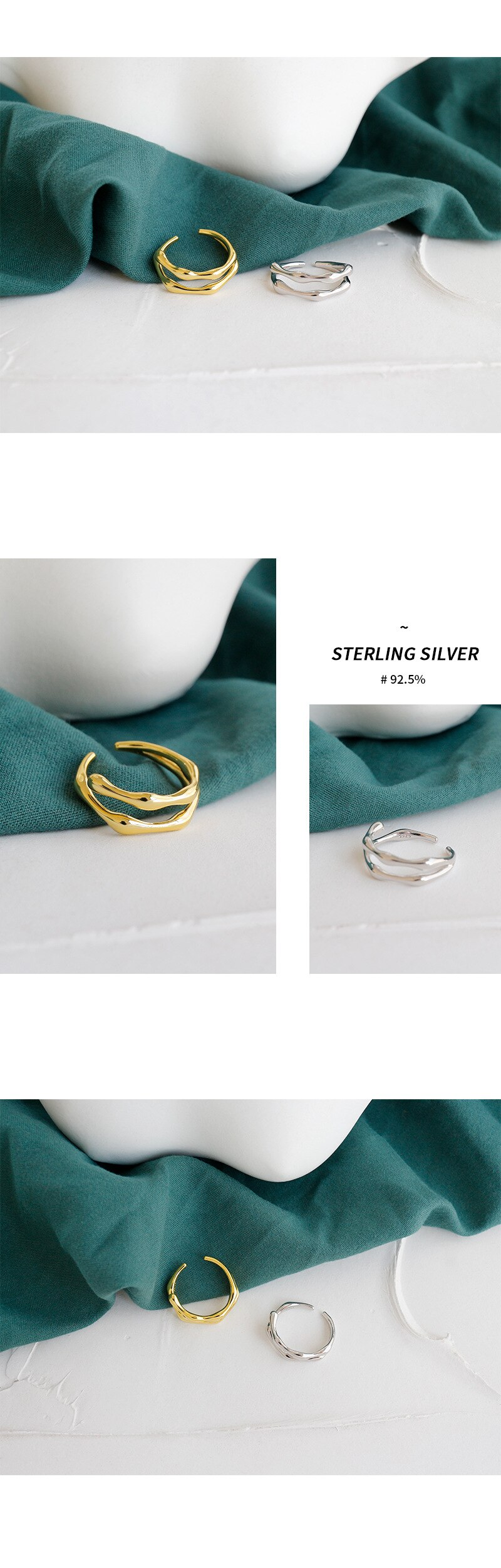 Kinel 100% 925 Sterling Silver Irregular Finger Rings for Women Adjustable Double layer Ring Wedding 18K Gold Jewelry