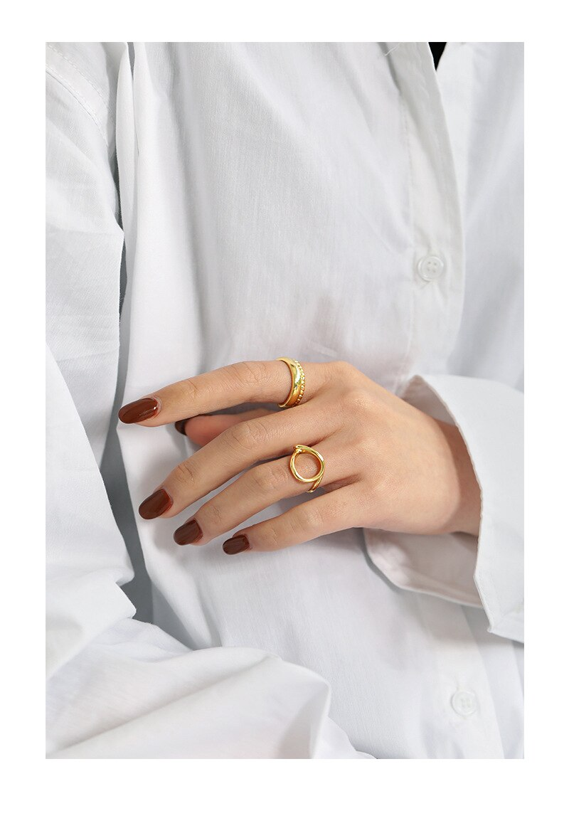 Kinel Fine Jewelry Real 925 Sterling Silver 14K Gold Intertwined Ring ladies Trendy Minimalist Party Accessory Silver Ring Korea