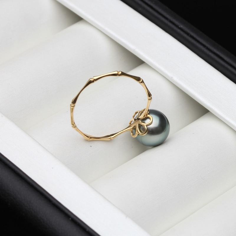 Wedding 18K Pure Gold Ring Round Black Natural Tahiti Pearl Ring Fine Jewelry Women Anniversary Gift