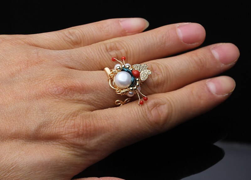Original Handmade Natural Fresh Water Pearl Snowflake Ring For Women Birthday Party Gift Ring Fine Jewelry
