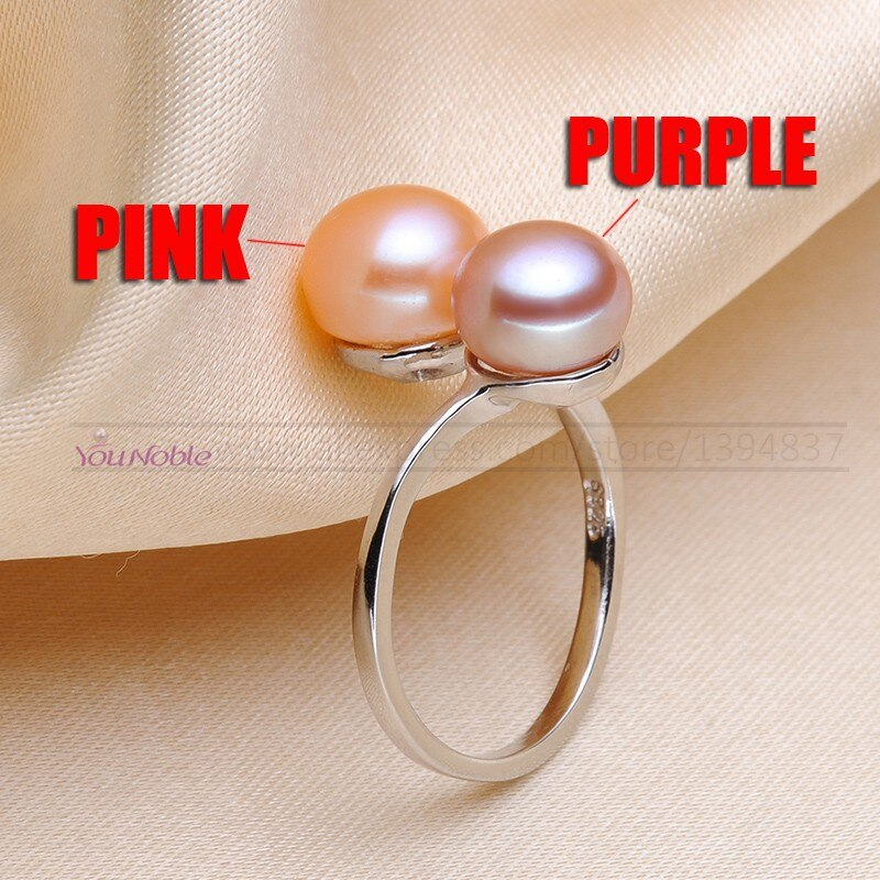 You Noble Wedding black ring natural pearl rings women silver 925 double pearl rings adjustable wife anniversary birthday gift