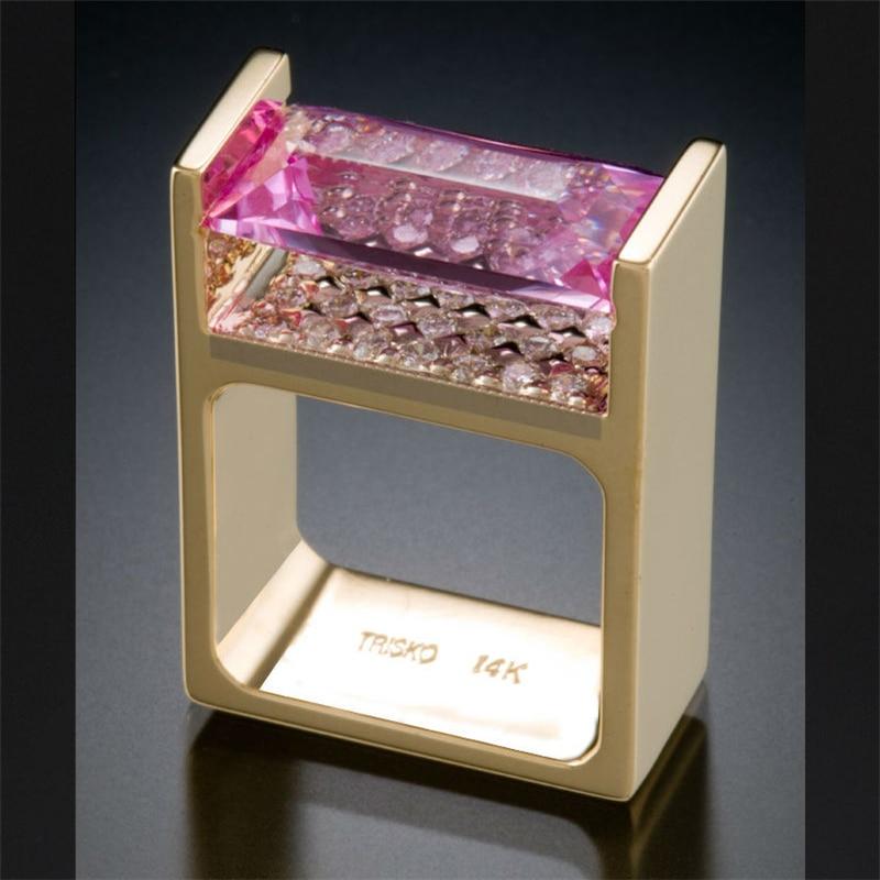 14K Gold Wedding Diamond Ring for Women Men Anillos Bizuteria Engagement Topaz Gemstone 14K Gold Diamond Ring Jewelry Bizuteria