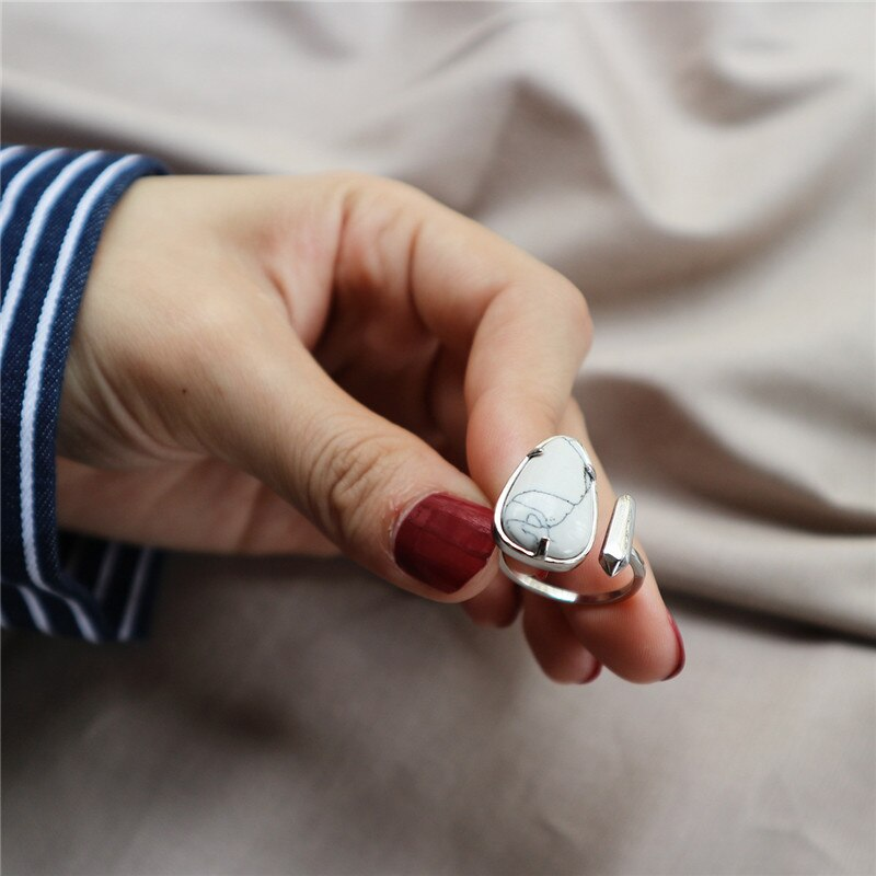 RUIYI 925 Sterling Silver Red White Turquoise Rings Personality Women Marbling Seed Shape Open Rings Fine Jewelry Lovers Gift
