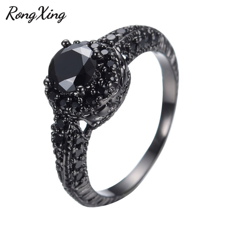 RongXing Antique Black Cubic Zirconia Rings For Women Halloween Party Gift Vintage Black Gold Filled Birthstone Ring Anel RB0039