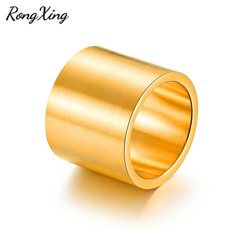 RongXing Wide Surface Men Big Thumb Finger Ring Titanium Steel Male Silver/Black/Gold Color High Polished Wedding Jewelry Gift
