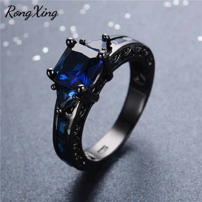 RongXing Antique Design Jewelry Women Wedding Ring Anel Princess Cut Blue CZ Black Gold Filled Engagement Rings Sz6-10 RB0050