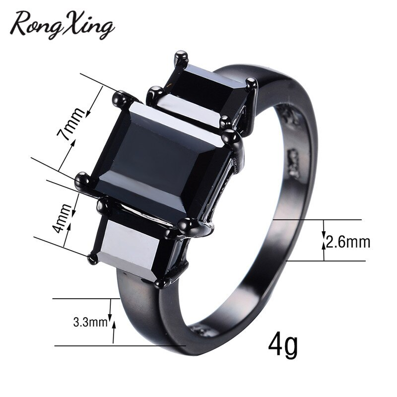 RongXing Vintage Rectangle Black Zircon Rings For Women Cocktail Party Jewelry Black Gold Filled Wedding Engagement Ring RB0052