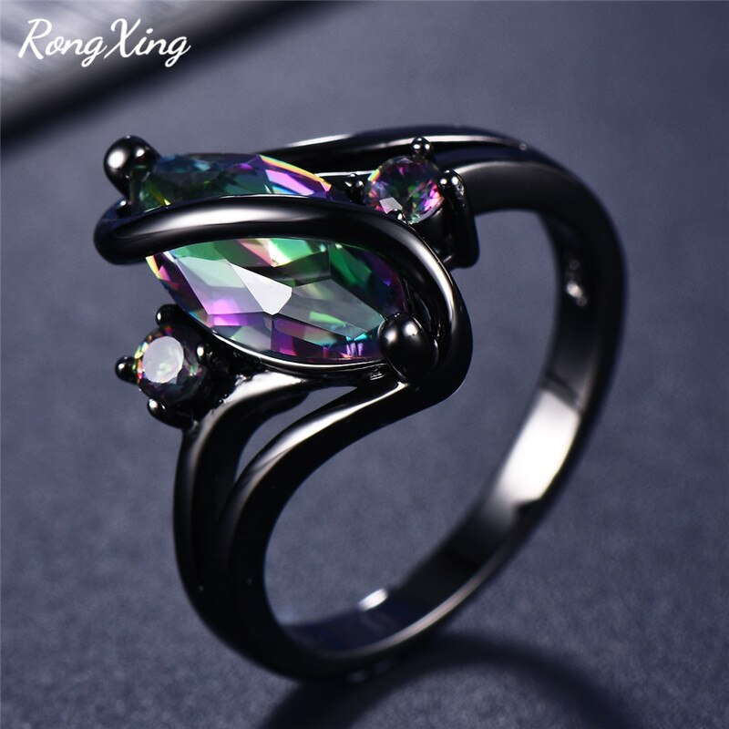 RongXing Charming Purple/Red Zircon S Rings for Women Black Gold Filled Mystic Fire Rainbow Birthstone Ring Female Finger Bands