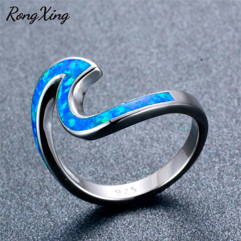 RongXing Silver Color Geometric Design Blue Fire Opal Wave Rings for Women Men Fashion Jewelry Wedding Ring RS0200