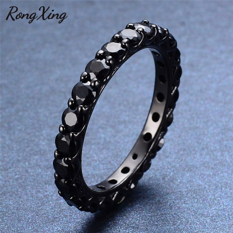 Black Stone Lady Band Jewelry Size 6/7/8/9/10 Black Gold Filled Engagement Rings for Women Anel Aneis Wedding Gift RB0110