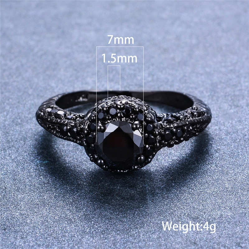 Vintage Black Round Zircon Engagement Rings For Women Men Antique Black Gold Jewelry Male Female Wedding Ring Crystal Jewelry
