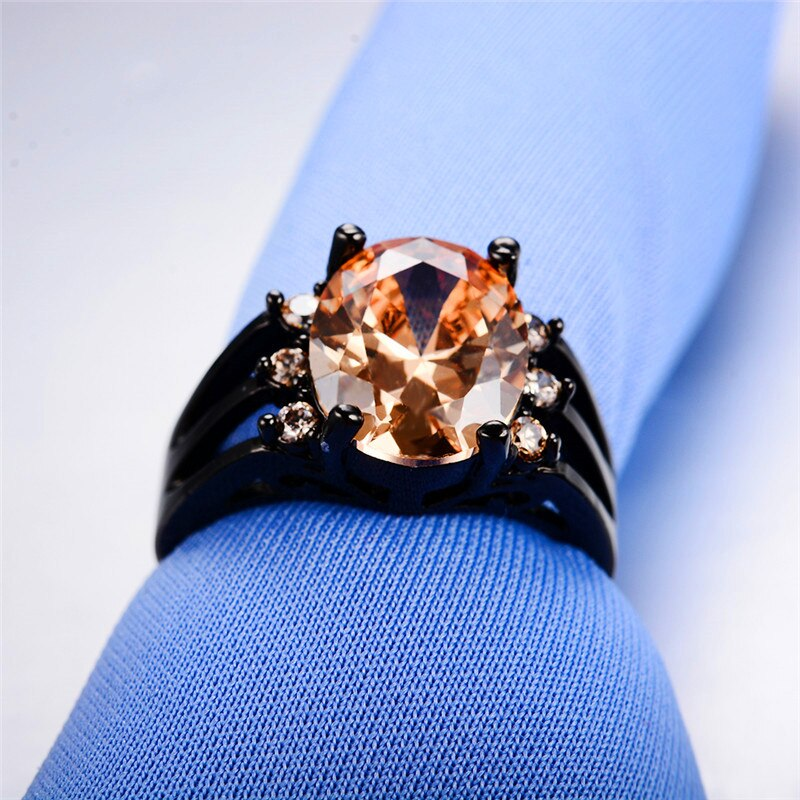 Big Oval Olive Green Zircon Engagement Rings For Women Men Vintage Black Gold Filled Red/Purple/Pink CZ Stone Ring Wedding Gifts