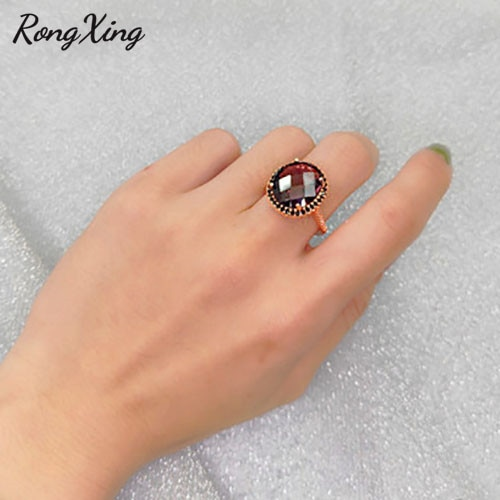 RongXing Big Oval Purple Crystal Zircon Rings for Women Vintage Fashion Rose Gold Filled Black Stone Engagement Ring Mother Gift