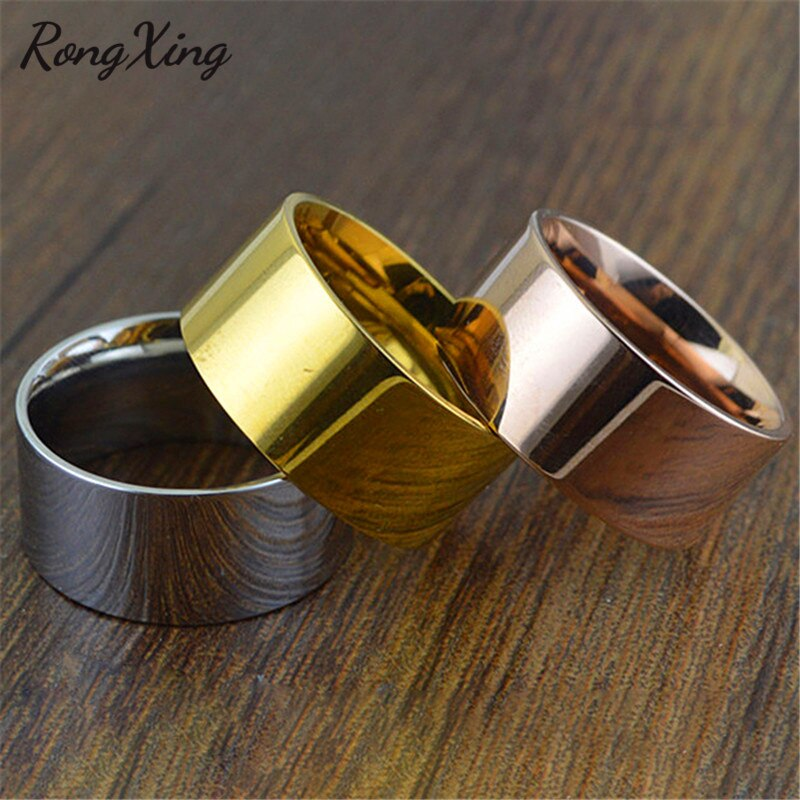 RongXing Retro Gold Color/Rose Gold 10mm Wide Band Rings For Women Men Vintage Titanium Steel Ring Fashion Jewelry Gifts CH0025