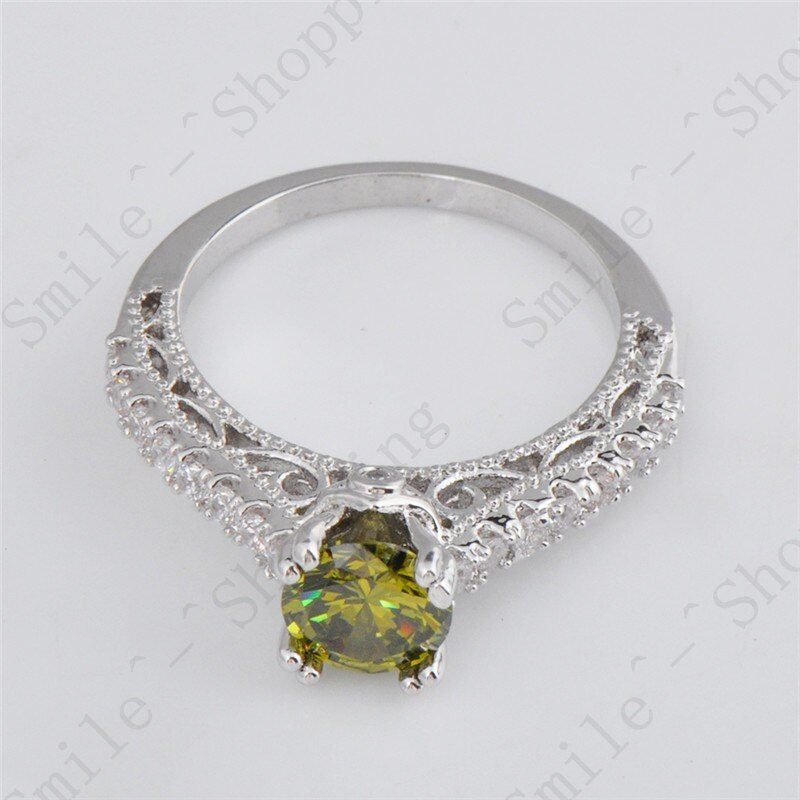 Double Claw Ring Dazzling Peridot Jewelry Size 6/7/8/9/10 White CZ Anel Aneis White Gold Filled Women Engagement Rings RW1040