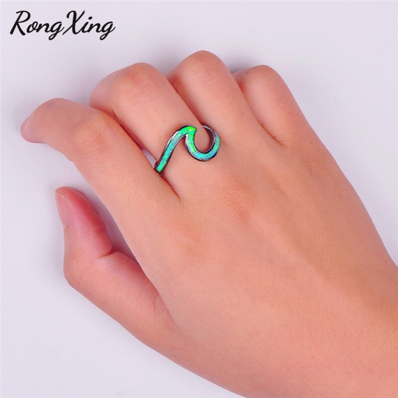 RongXing Cute Green Fire Opal Wave Rings For Women Men Vintage Fashion Black Gold Filled Birthstone Ring Wedding Jewelry RB1356
